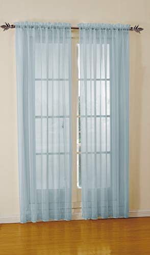 Jody Clarke 2pc Set Sheer Voile Window Treatment Rod Pocket Curtain Panels for Bedroom and Living Room Assorted Colors & Sizes Solid Stitched & Hemmed(Light Blue, 2PC 54 X 63)