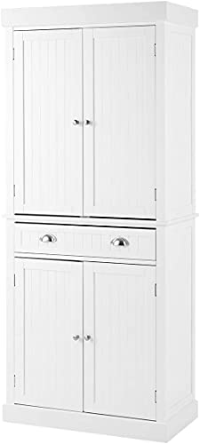 """MELLCOM Kitchen Pantry, 72"""" Freestanding Storage Cabinets with Doors and Shelves, Elegant Colonial Design Cabinet Cupboard with 3 Adjustable Shelves and 1 Storage Drawer, White"""