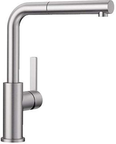 Blanco LANORA-S – Kitchen Mixer Tap Made of Solid Stainless Steel with Pull-out Spout – High Pressure – Brushed Stainless Steel – 523123 [ EU Version ]