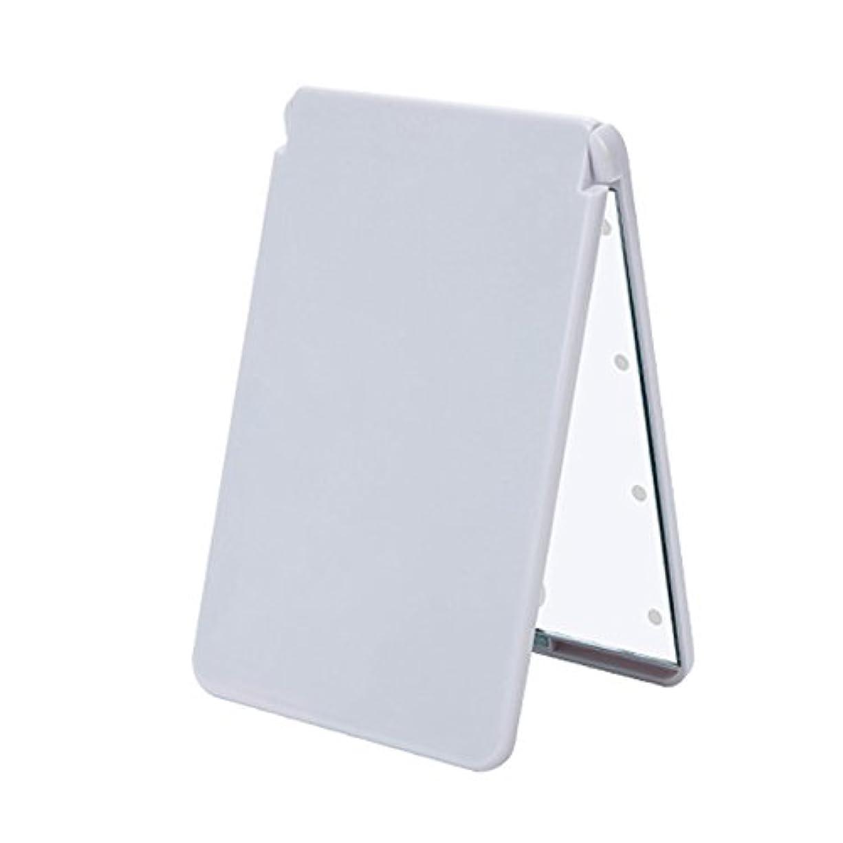 重要性敬意を表する郵便屋さんledメイクミラー 8 LED ライト 電池式 化粧鏡 折りたたみ コンパクトミラー 軽量 携帯便利 2倍拡大鏡付 二面鏡 ホワイト