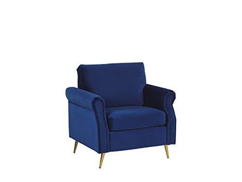 Beliani Stilvoller Sessel aus Samtstoff Kobaltblau Vietas