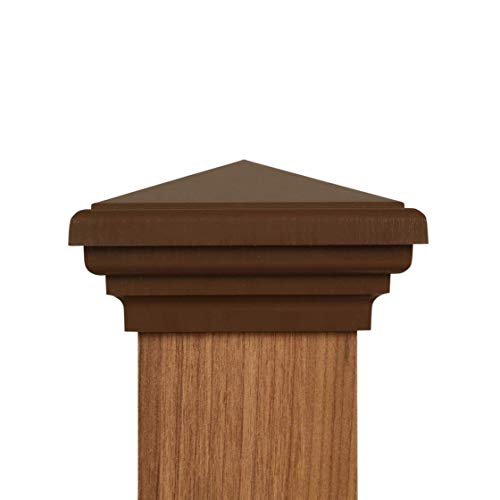 4x4 Post Cap (3.5) | (Case of 12) Brown New England Pyramid Style Square Top for Outdoor Fences, Mailboxes & Decks, by Atlanta Post Caps…