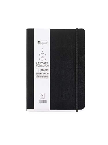 Basicos MR 10406 Flexibles Notizbuch mit Ledereinband, glatt mit Gummiband, 200 Blatt, Schwarz