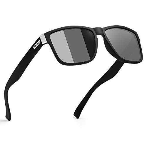 GRFISIA Vintage Polarized Sunglasses for Men and Women Driving Sun glasses 100% UV Protection (matte black frame - Photochromic lens)