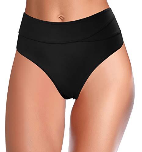 SHEKINI Damen Basic Bauchweg Bikinihose Hoher Taille Bikini Unterteil Naht Bottoms Große Größe Strandhose für Frauen (Schwarz, S)