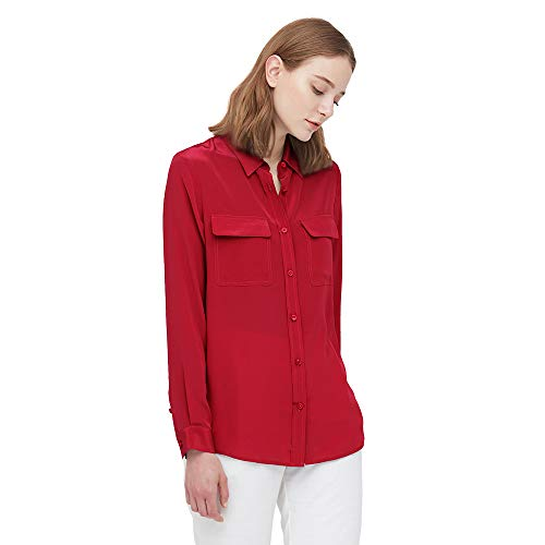 LilySilk Klassisch Seide Damenbluse Hemdbluse Shirt Damen Langärmlig mit Perlmutt-Knopfleiste Verpackung MEHRWEG (L, Rot)