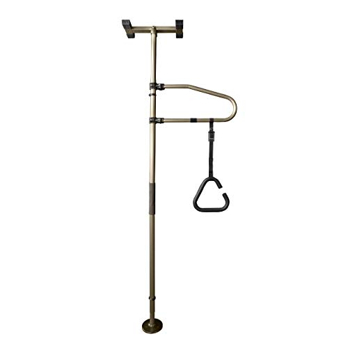 Signature Life Sure Stand Straight Pole and Trapeze Grab Bar Bundle, Elderly Tension Mounted Floor to Ceiling Transfer Pole, Bathroom Safety Assist Grab Bar and Stability Rail, Deep Bronze
