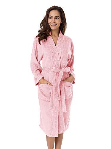 SIORO Albornoz de toalla de felpa Kimono Bata de algodón para mujer Bata de ducha absorbente hasta la pantorrilla Bata de casa