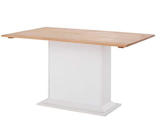 Loft 24 A/S Säulentisch mit Auszug Ausziehbarer Esszimmertisch Esstisch Ansteckplatten Küche Tisch (weiß & gebeizt, 105-150 x 65 x 75 cm)