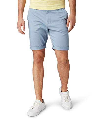TOM TAILOR Herren Chino Hose Shorts, Türkis (Dusty Aquamarine Blu 15723), Large