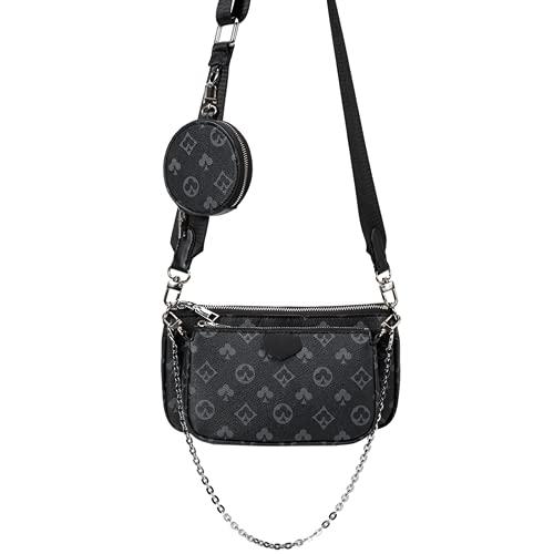 Showlovein Mahjong Bag Umhängetasche Schultertasche 3 in 1 Luxus-Handtasche PU Leder Tragetaschen Fashion für Frauen,Schwarz