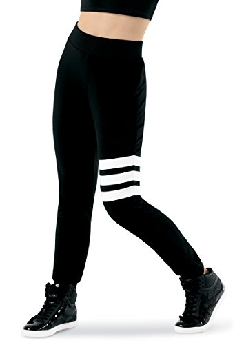 Balera Joggers Girls Pants for Dance with Three Stripes Slim Fit Bottoms Black Adult Medium