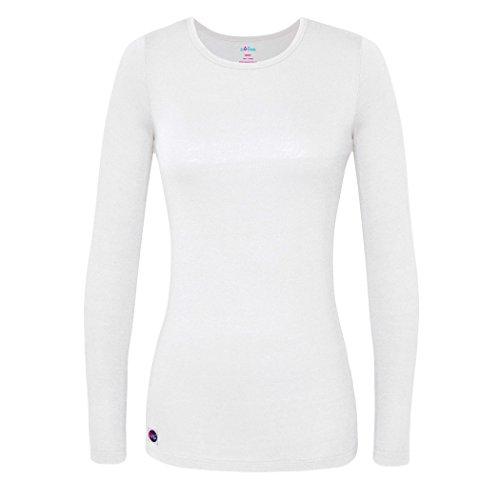 Sivvan Women's Comfort Long Sleeve T-Shirt/Underscrub Tee - S8500 - White - XL