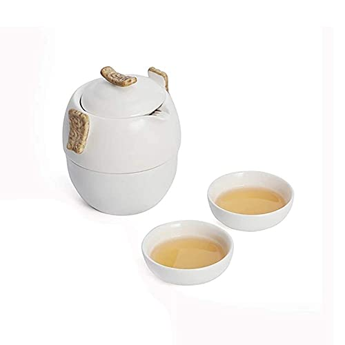 Teapot Japanese, Travel Teapot Set, Portable Teapot Set with 2 Ceramic Teacups and Carrying Case, for Women Gift, Tea, Coffee, Espresso, Etc.