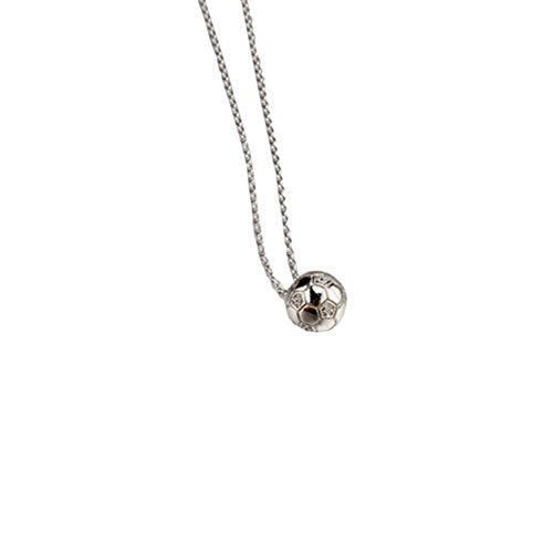 N-brand PULABO - Collar chapado en plata con colgante de balón de fútbol con circonitas para mujer, accesorio de regalo de cumpleaños elegante y duradero