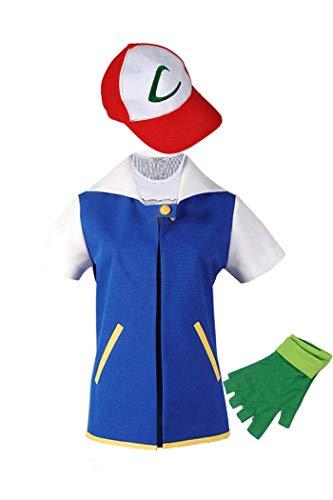 Adult Kids Ash Ketchum Cosplay Costume Jacket Gloves Hat Set Trainer Halloween...