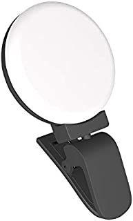 Color : White JYEMDV LED Ring Light for Phone Big Clip Round Fill Light 3 Light Color USB Charging Selfie Light