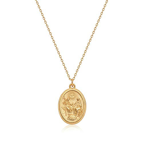 Mevecco Carved Gold Coin Pendant Necklace for Women,18K Gold Plated Dainty Minimalist Necklace for Women…