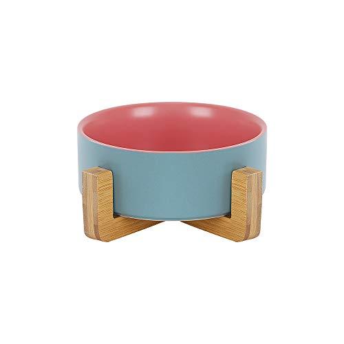 HCHLQLZ Blau Rosa Keramik Hundenapf Futternapf Fressnapf Napf für Hund Katzen mit Massivholz Ständer
