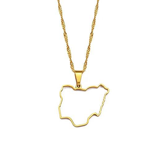 Collares Esquema de mapa de Nigeria collares pendientes para mujeres niñas mapas de países africanos nigerianos mapas de joyería-Color dorado_60 cm o 23,6 pulgadas