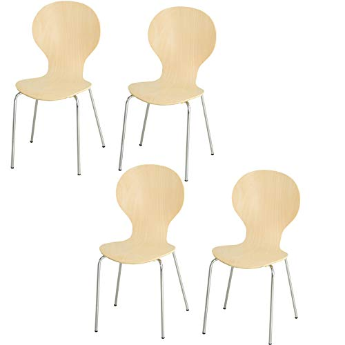 HOMCOM 4-er Set Esszimmerstühle Küchenstuhl Holzstuhl für Küche und Esszimmer mit Metallfüßen Massivholz Natur 45 x 50 x 88 cm