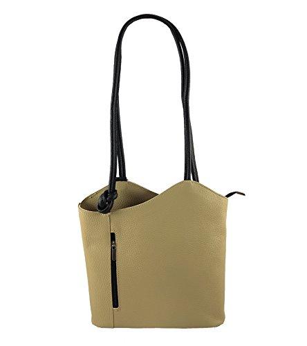 Freyday 2 in 1 Handtasche Rucksack Henkeltasche aus Echtleder in versch. Designs (Glattleder Beige-Schwarz)