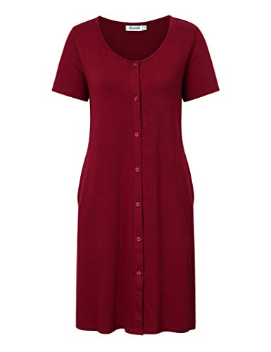 KOJOOIN Damen Geburt Stillnachthemd Schlafanzug Schwangerschaft Pyjama Nachtwäsche mit Durchgehender Knopfleiste Weinrot XL