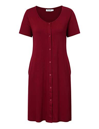 KOJOOIN Pigiama da donna per allattamento, pigiama per gravidanza, con abbottonatura continua rosso vivo M