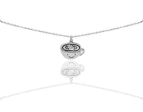 Quan Jewelry Kaffee-Geschenk-Halskette für Kaffeeliebhaber und Enthusiasten, lustige Kaffeetasse, Ruhestand, Weihnachten oder Geburtstag, Koffein Humor, Mops-Grußkarten