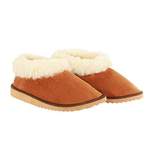 AURORA PT - Zapatillas de piel de oveja de piel sintética portuguesa - Zapatillas de mujer y hombre (2-2.5 UK)