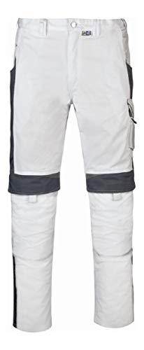 PKA BestWork Bundhose Arbeitshose (52, Weiß/Grau)