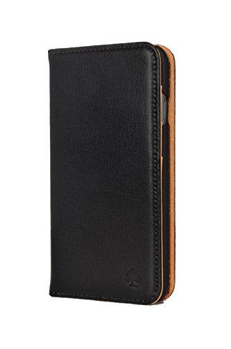 Porter Riley - Lederhülle für iPhone 8 / iPhone 7. Premium Echtleder Standhülle/Cover/Brieftasche kompatibel mit iPhone 8/7 (Schwarz, Hellbraun)