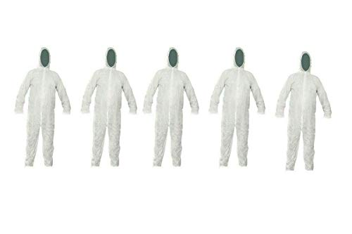Bahob 5 Pack Protective Disposable Overall Paper Boiler Suit Coveralls Protection Suit Elasticated hood, Cuffs and Ankles