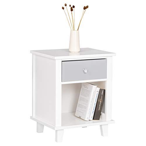 WOLTU® Nachttisch TSR57ws Nachtkommode Nachtschrank Beistelltisch Sofatisch, mit Schublade und Offenem Fach, mit Beinen, Holz, Weiß, 40x34x50cm(BxTxH)