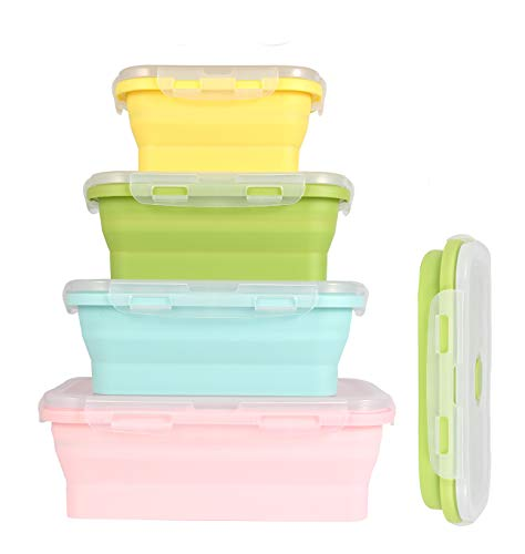 Collapsible Food Storage Container with 4 sets Silicone Boxes for kitchen or kids lunch boxes-Best Kitchen Tools (BPA Free)