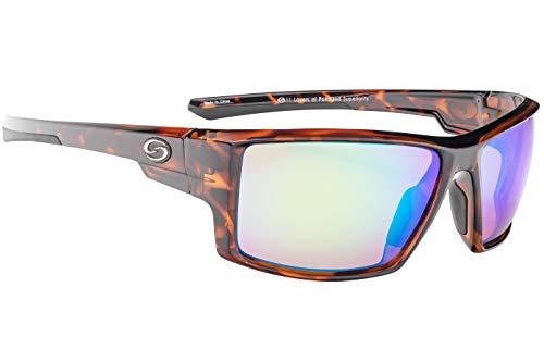Strike King S11 Pickwick Polarized Sunglasses, UVA/UVB Protection, Shiny Tortoiseshell Frame, Multi Layer Green Mirror Amber Base Lens, Brown