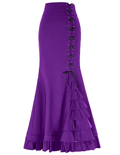 Women's Steampunk Victorian Mermaid Maxi Skirt for Cocktail Party M Purple