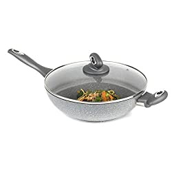 Use your Salter wok and tempered glass lid to cook a delicious, fast stir fry using less oil for healthier eating with little effort. Made from forged aluminium with a marble coating, it is wonderfully durable and long lasting, so you can cook with c...