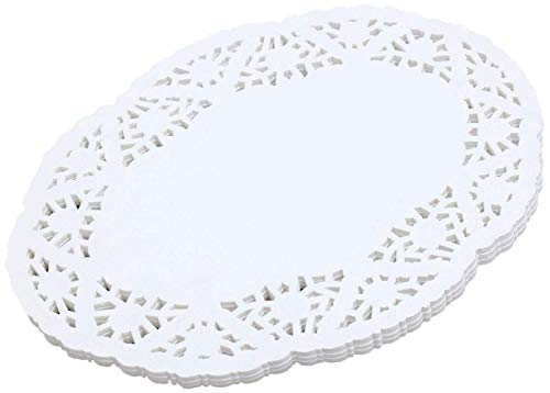 """100Pcs White Lace Paper Doilies Oval 12.5"""" x 8.5'' Cakes, Desserts, Baked Treat Display, Ideal for Weddings, Tableware Decoration"""