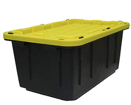 Durable 17 Gallon Tough Box Storage Tote Organizer | Heavy Duty Bin with Snap On Lid Type - Made in USA, Black & Yellow