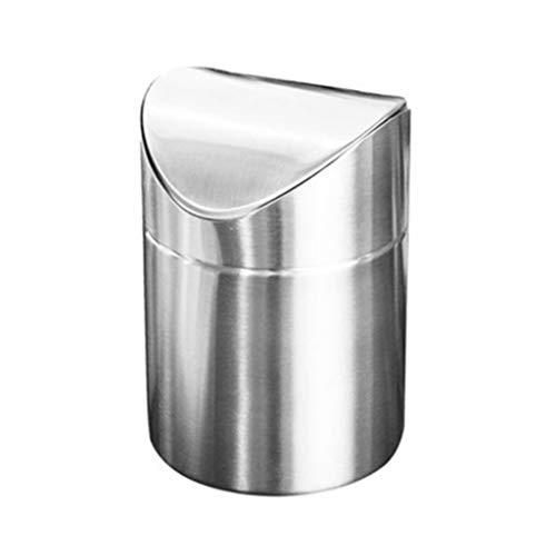 SMEJS Cubo de Basura de Escritorio de Acero Inoxidable Cubo de Basura de encimera con Tapa abatible Mini Cubo de Basura Basura de Basura de Oficina