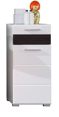trendteam smart living Badezimmer Schrank Kommode Mezzo, 37 x 79 x 31 cm in Weiß Hochglanz, Absetzung Eiche Melinga Rillenstruktur Dunkel (Nb.) mit viel Stauraum