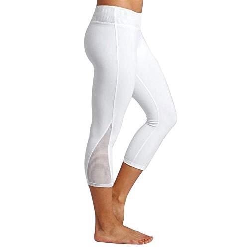 YEBIRAL Yoga Leggings Damen Capri Leggings 3/4 Sport Hose Stretch Workout Fitness Hohe Taille Jogginghose(S,Weiß)
