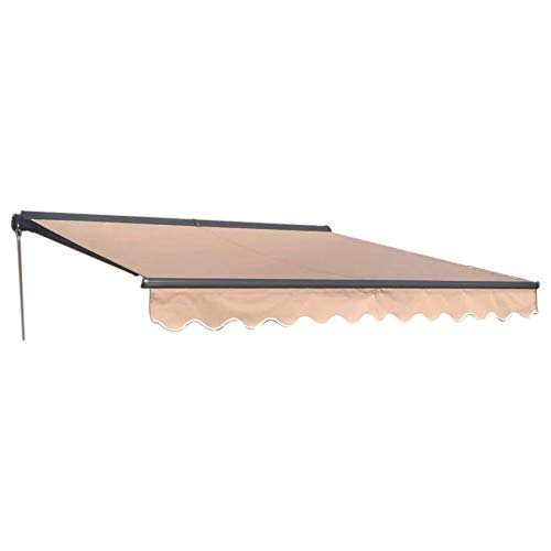 ALEKO Manual Retractable Half Cassette Patio Awning, 10x8 Ft Manual Exterior Sunshade Canopy with Hand Crank – Sand