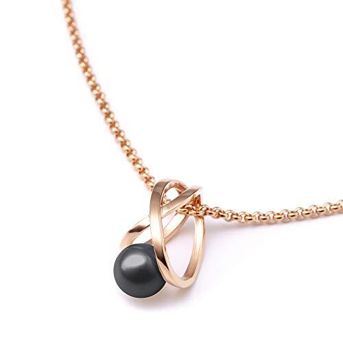 Heideman Halskette Damen Facilis aus Edelstahl Silber farbend poliert Kette für Frauen mit Swarovski Weiss Perlenkette mit Anhänger Brautschmuck Dark Grey Gr. ha23671-8-12-42