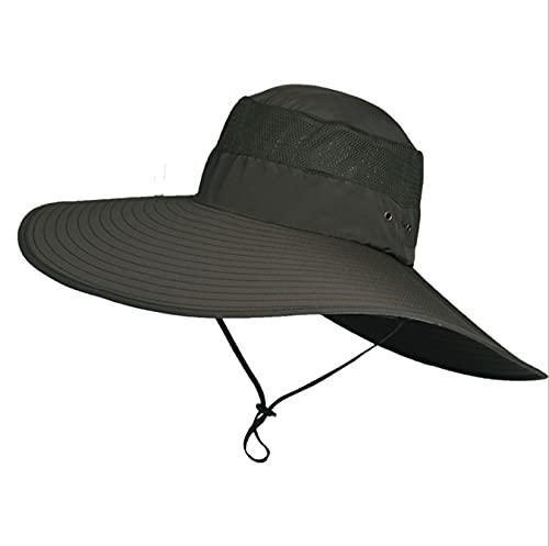 LONGSAND Sombrero de Pescador UV Protección Solar Hombres Hombres Impermeables con Correa Ajustable Sombrero de Vaquero de Alambre para Alpinismo, Pesca, Salida al Aire Libre,D,58~59cm