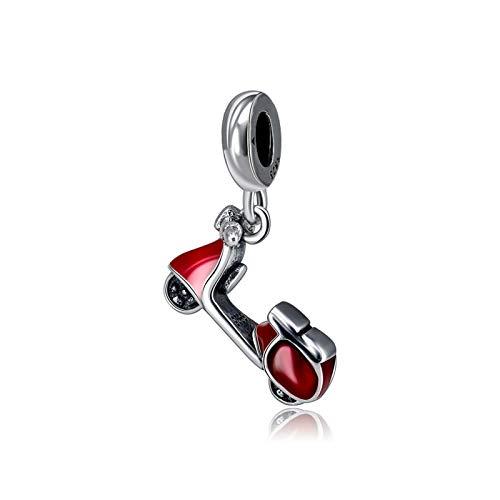 JINSUO Original del 100% Sterling Silver Charm Bead Adecuado for Pulsera Amor Viajes Encanto Femenino joyería al (Color : Red Scooter)