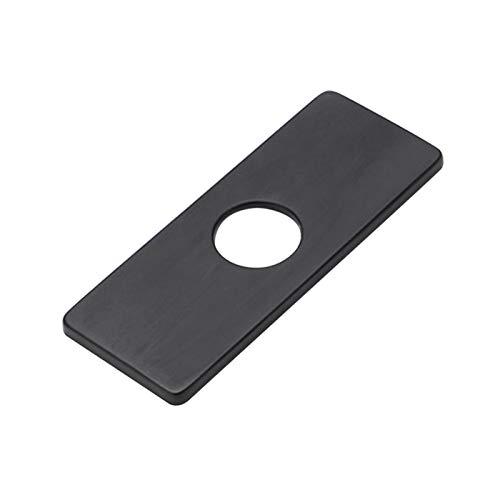 Placa de grifo de acero inoxidable, placa rectangular cuenca de la vanidad del fregadero cubierta, grifo de la placa de la cubierta del inodoro/cocina/baño (negro)