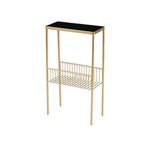 QINGZHUO Tavolino Rettangolare,tavolino da Salotto Struttura in Metallo,Piano in Vetro Temperato,tavolino Elegante dal Design Moderno.