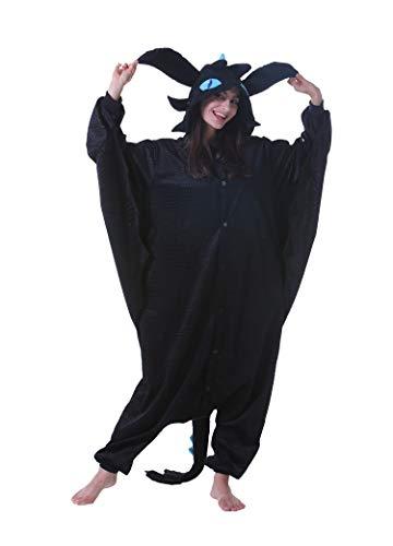 Jumpsuit Onesie Tier Karton Fasching Halloween Kostüm Sleepsuit Cosplay Overall Pyjama Schlafanzug Erwachsene Unisex Lounge Schwarzer Drache L(168-177CM)